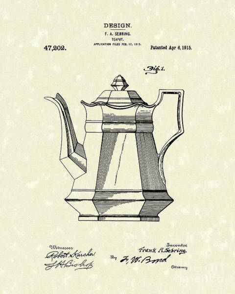 Drawing - Teapot 1915 Patent Art by Prior Art Design