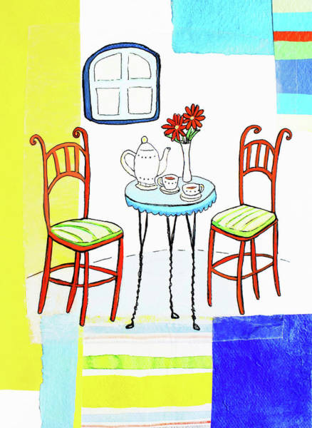 Home Interior Digital Art - Teapot And Teacups On Table With Vase by Stephanie Levy