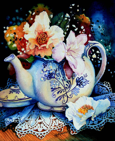 Koehler Painting - Teapot Posies And Lace by Hanne Lore Koehler