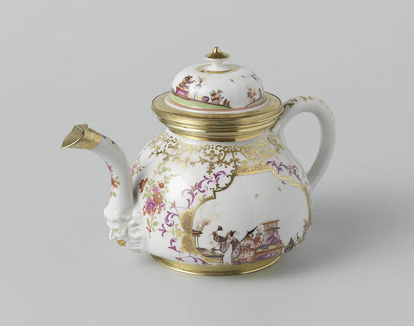 Lid Painting - Teapot With Lid, Multicolor Painted With Chinoiserie by Quint Lox