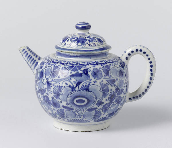Lid Painting - Teapot With Lid Of Blue Painted Faience, On Foot Ring by Quint Lox