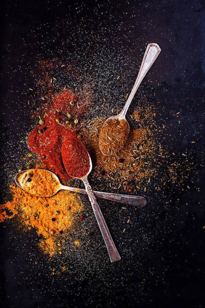 Ground Photograph - Teaspoons With Ground Spices On Dark by One Girl In The Kitchen