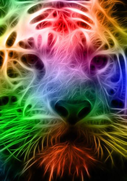 Staring Digital Art - Techicolor Tiger by Ricky Barnard