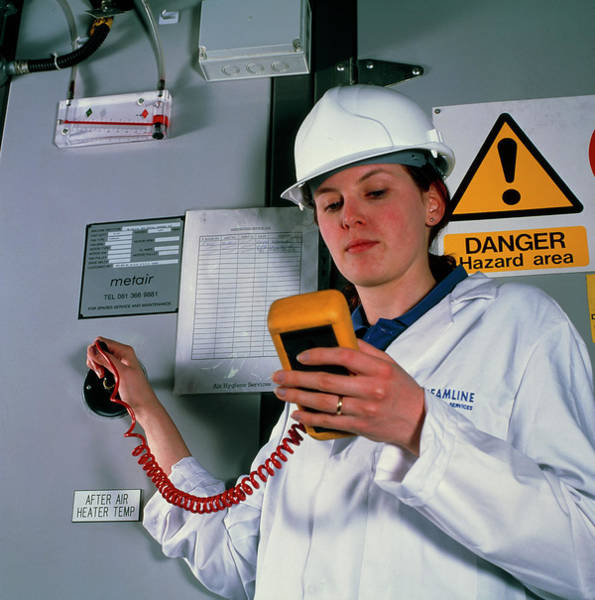 Handling Photograph - Technician Monitoring Pollutant Levels In Air by Jerry Mason/science Photo Library