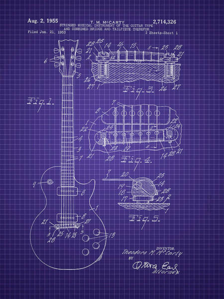 Photograph - Ted Mccarty Guitar Patent by Barry Jones