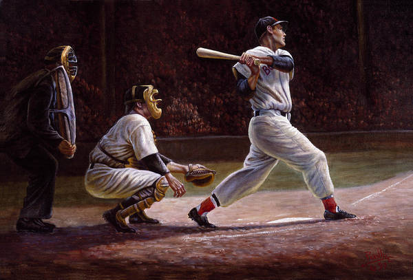 Baseball Hall Of Fame Wall Art - Painting - Ted Williams At Bat by Gregory Perillo