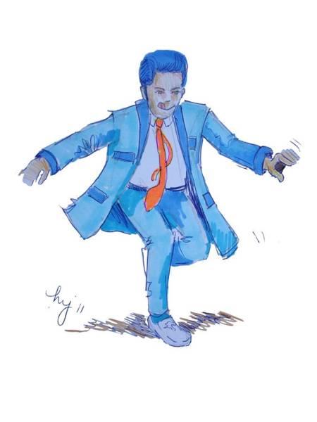 Drawing - Teddy Boy Cartoon by Mike Jory