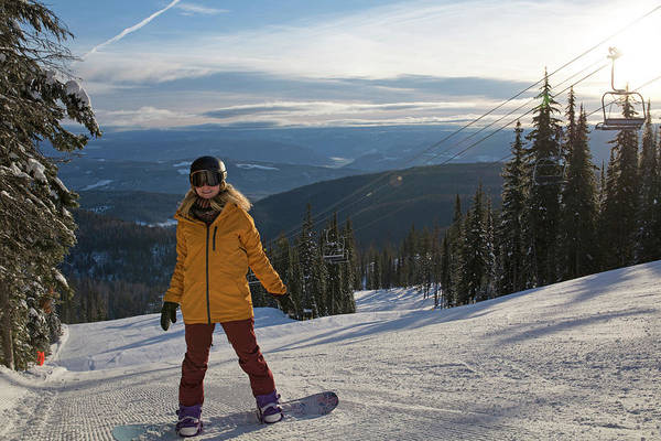 Determination Photograph - Teen Girl Pauses On Snowboard by Philip & Karen Smith / TFA
