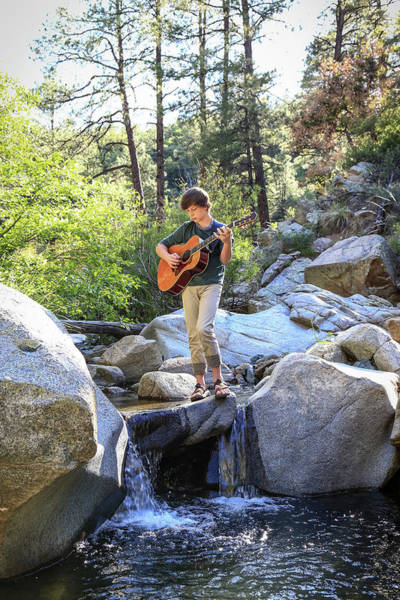 Keith Urban Wall Art - Photograph - Teenage Boy Playing Guitar While by Kerry Estey Keith