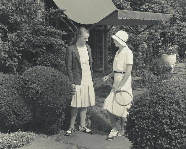 Sports Uniform Photograph - Teenage Girls At A Tennis Court by Edward Steichen