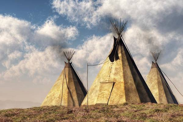 Tribal Digital Art - Teepees by Daniel Eskridge