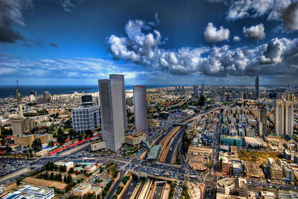 Kabbalistic Wall Art - Photograph - Tel Aviv Center Skyline by Ron Shoshani