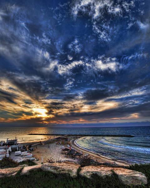 Tel Aviv Sunset At Hilton Beach Art Print