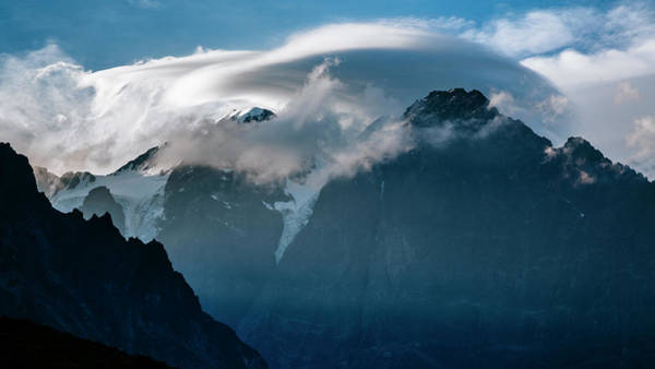 Cumulus Photograph - Telaquana Mountain Covered By Clouds by Andrew Peacock