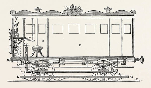 Locomotive Drawing - Telegraph Locomotives. Vertical Section Of The Telegraph by Bonelli, G., 19th Century, Italian