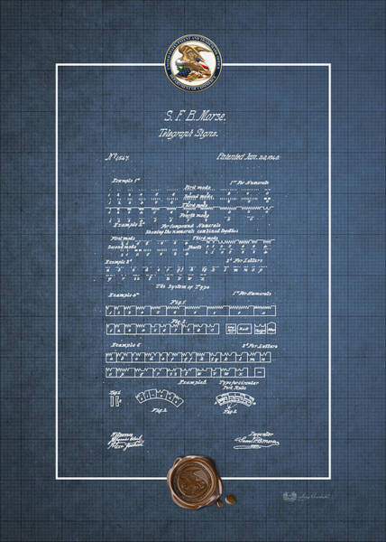 Digital Art - Telegraph Signs By S.f.b. Morse - Morse Code - Vintage Patent Blueprint by Serge Averbukh