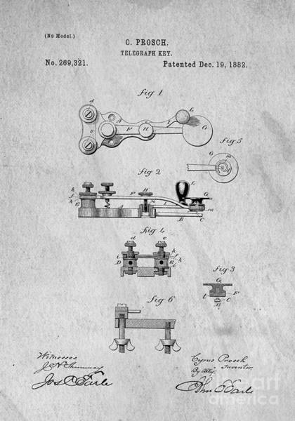 Wall Art - Photograph - Telegraphy Key Original Patent 1882 by Edward Fielding