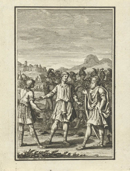 Olive Branch Drawing - Telemachus Talking With Mentor, Jacob Folkema by Jacob Folkema