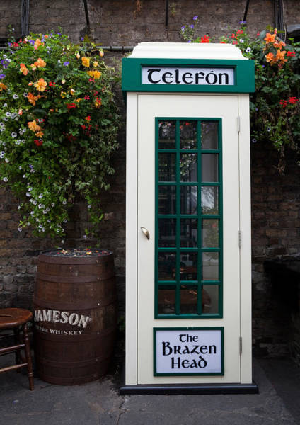 Eire Photograph - Telephone Kiosk, The Brazen Head Pub by Panoramic Images