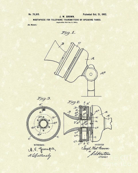 Wall Art - Drawing - Telephone Mouthpiece 1902 Patent Art by Prior Art Design