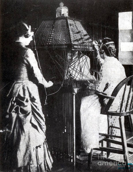 Tele Photograph - Telephone Operators, 1884 by Science Source