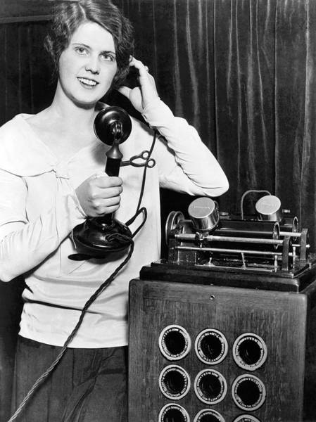 Conversation Photograph - Telephone Recording Device by Underwood Archives