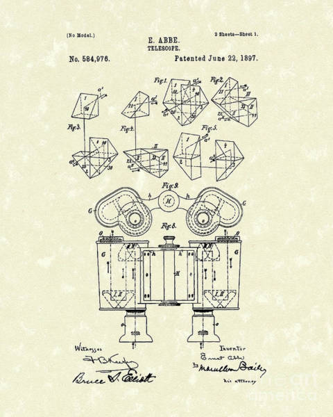 Drawing - Telescope 1897 Patent Art  by Prior Art Design