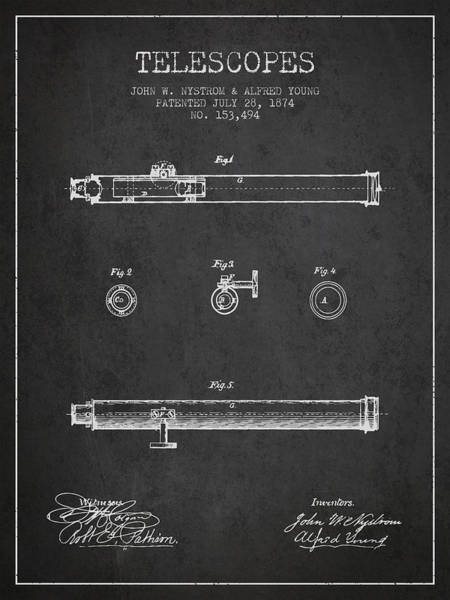 Living Space Wall Art - Digital Art - Telescope Patent From 1874 - Dark by Aged Pixel