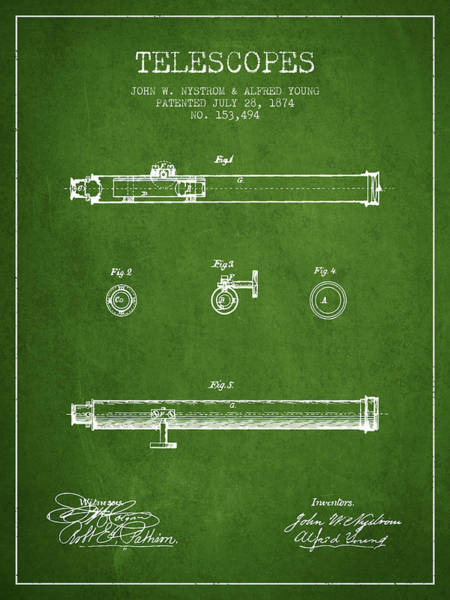 Living Space Wall Art - Digital Art - Telescope Patent From 1874 - Green by Aged Pixel