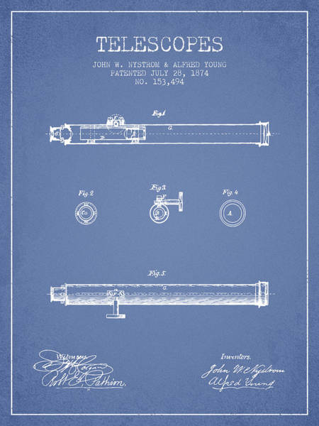 Living Space Wall Art - Digital Art - Telescope Patent From 1874 - Light Blue by Aged Pixel