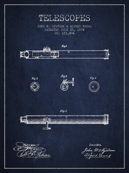 Living Space Wall Art - Digital Art - Telescope Patent From 1874 - Navy Blue by Aged Pixel