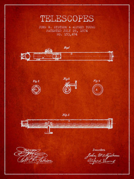 Living Space Wall Art - Digital Art - Telescope Patent From 1874 - Red by Aged Pixel