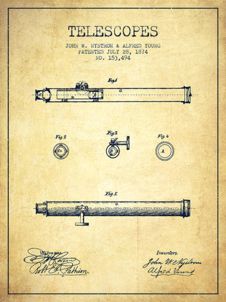 Living Space Wall Art - Digital Art - Telescope Patent From 1874 - Vintage by Aged Pixel