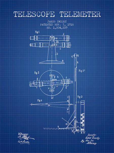 Wall Art - Digital Art - Telescope Telemeter Patent From 1916 - Blueprint by Aged Pixel