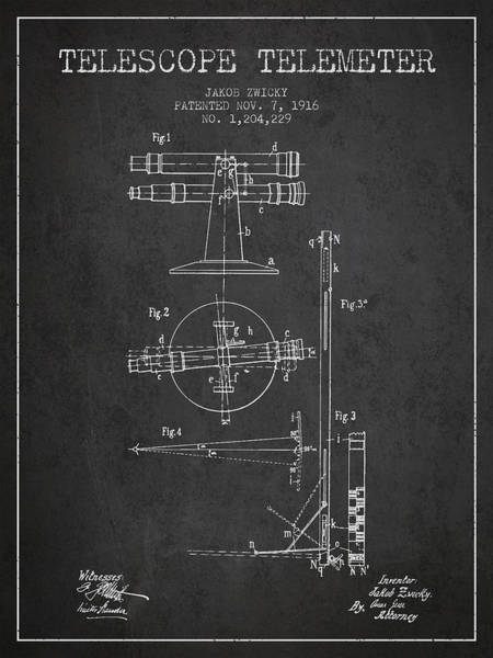 Wall Art - Digital Art - Telescope Telemeter Patent From 1916 - Charcoal by Aged Pixel