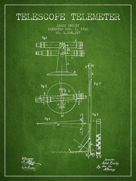 Wall Art - Digital Art - Telescope Telemeter Patent From 1916 - Green by Aged Pixel