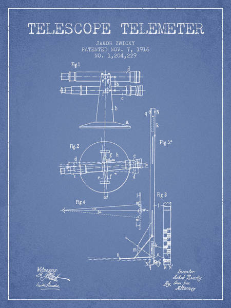Wall Art - Digital Art - Telescope Telemeter Patent From 1916 - Light Blue by Aged Pixel