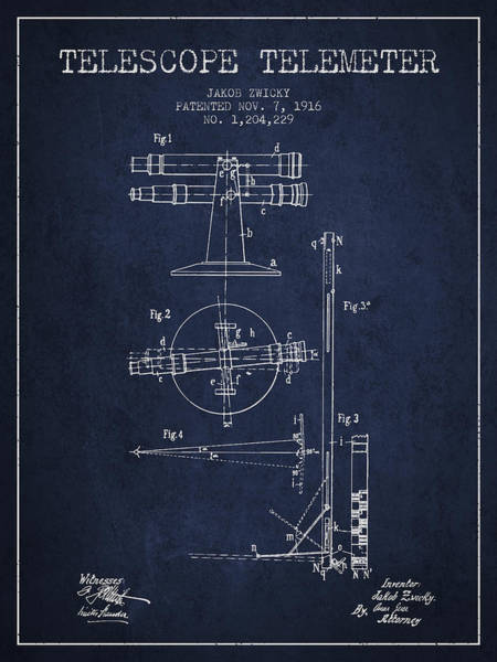 Wall Art - Digital Art - Telescope Telemeter Patent From 1916 - Navy Blue by Aged Pixel