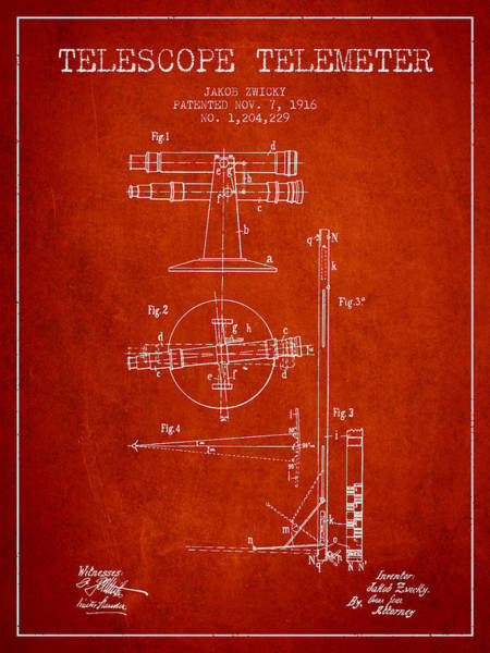 Wall Art - Digital Art - Telescope Telemeter Patent From 1916 - Red by Aged Pixel