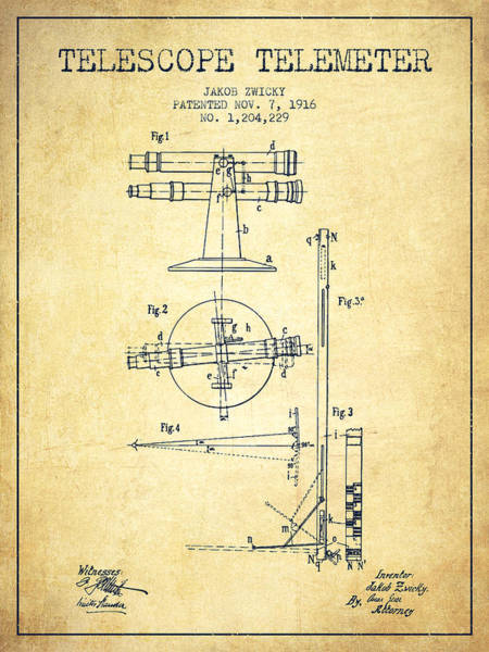 Wall Art - Digital Art - Telescope Telemeter Patent From 1916 - Vintage by Aged Pixel