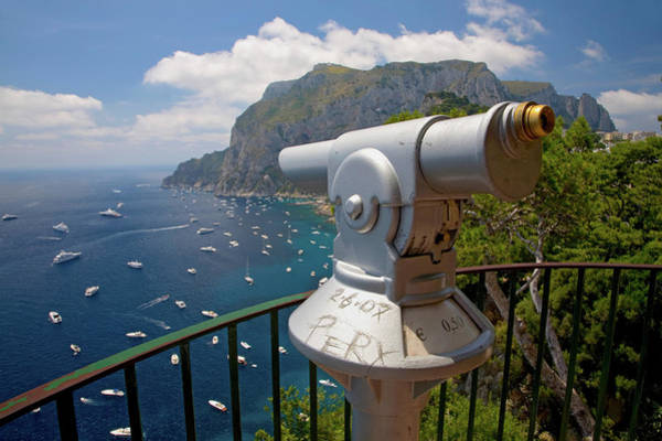 Point Of View Wall Art - Photograph - Telescope Viewer Of City Of Capri, An by Panoramic Images