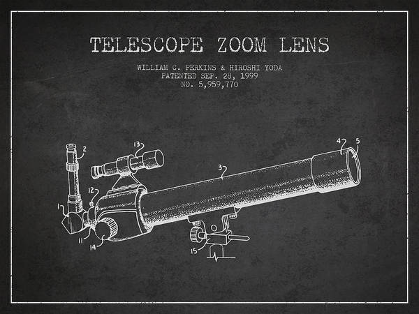 Wall Art - Digital Art - Telescope Zoom Lens Patent From 1999 - Dark by Aged Pixel
