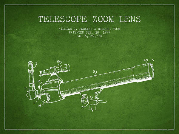 Wall Art - Digital Art - Telescope Zoom Lens Patent From 1999 - Green by Aged Pixel