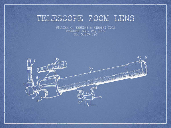Wall Art - Digital Art - Telescope Zoom Lens Patent From 1999 - Light Blue by Aged Pixel