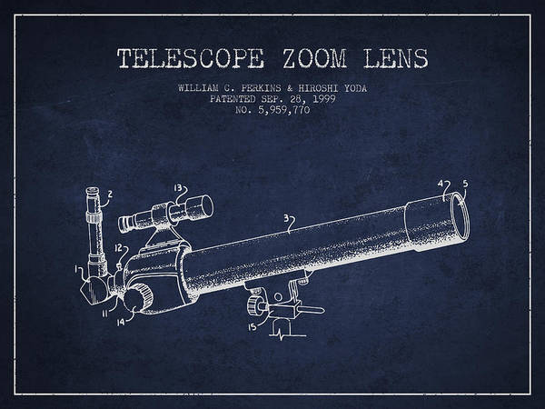 Wall Art - Digital Art - Telescope Zoom Lens Patent From 1999 - Navy Blue by Aged Pixel