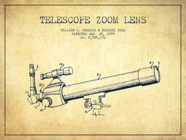 Wall Art - Digital Art - Telescope Zoom Lens Patent From 1999 - Vintage by Aged Pixel