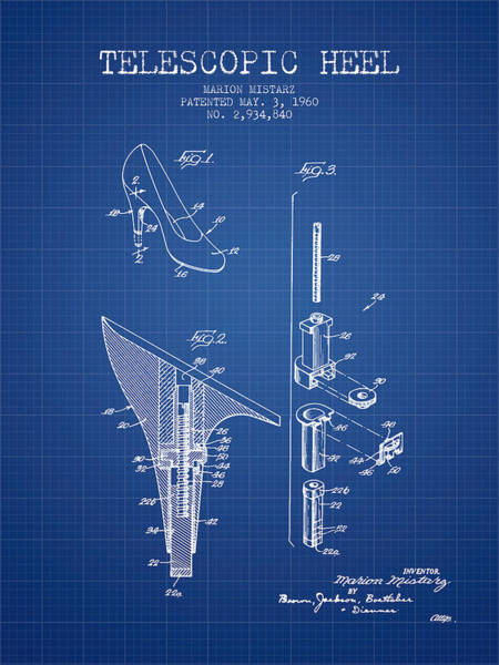 Lace Digital Art - Telescopic Heel Patent From 1960 - Blueprint by Aged Pixel