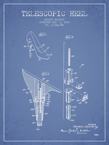 Lace Digital Art - Telescopic Heel Patent From 1960 - Light Blue by Aged Pixel
