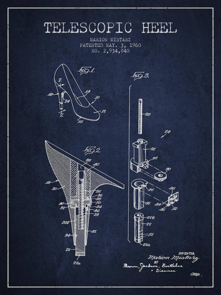 Lace Digital Art - Telescopic Heel Patent From 1960 - Navy Blue by Aged Pixel