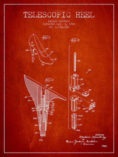Lace Digital Art - Telescopic Heel Patent From 1960 - Red by Aged Pixel